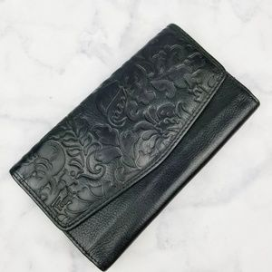 Fossil|Black Leather Paisley Embossed Wallet